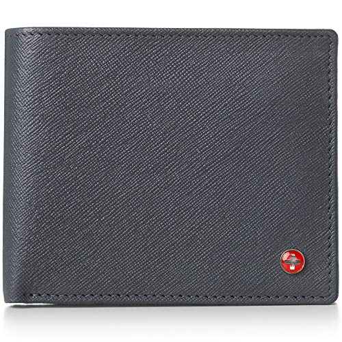 Alpine Swiss RFID Luka Men's Flip ID Wallet Deluxe Capacity ID Bifold With Divided Bill Section Camden Collection Crosshatch Gray