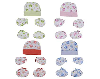 64348ef17 ANKIMA Soft Cotton Mittens Caps and Booties Gift Set for New Born ...