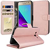 (US) Galaxy Grand Prime Plus Case, Galaxy J2 Prime Case, TAURI [Kickstand] Wallet Leather with Card Pockets Protective Flip Cover For Samsung Galaxy J2 Prime / Grand Prime Plus - Rose Gold