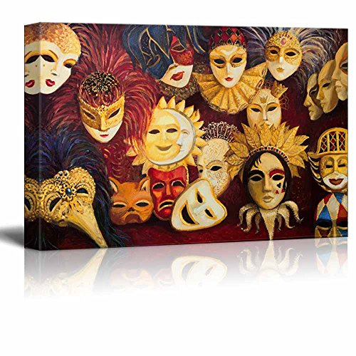 Canvas Prints Wall Art - Colorful Ornate Traditional Venetian Masks in Oil Painting Style | Modern Wall Decor/Home Decor Stretched Gallery Canvas Wraps Giclee Print & Ready to Hang - 24