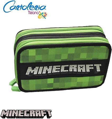 Minecraft - Estuche con 3 cremalleras para lápices con 3 cremalleras, completo para escuela 2020-2021: Amazon.es: Oficina y papelería