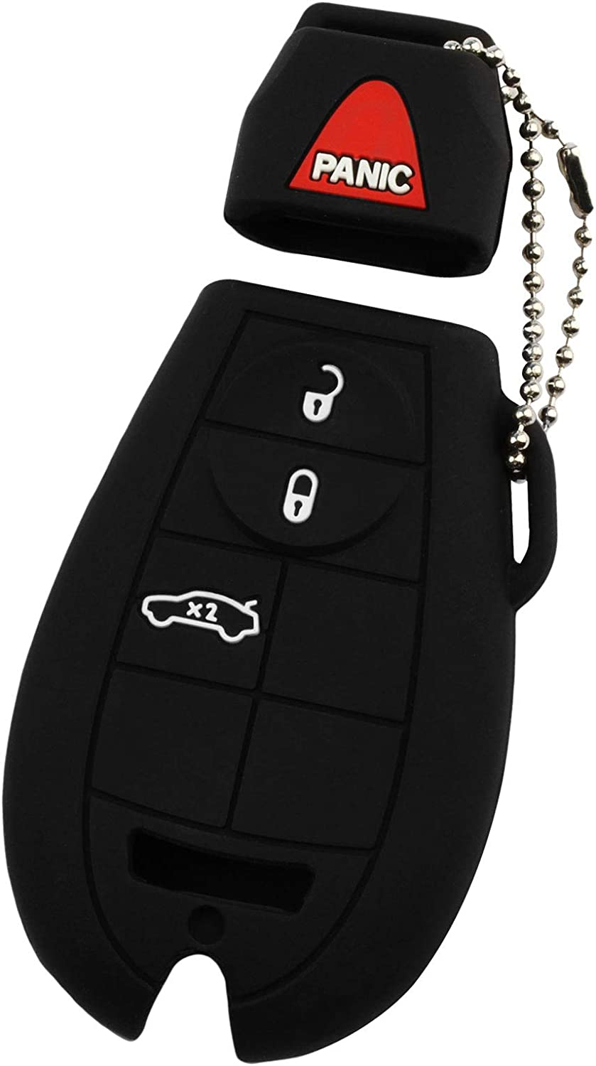 KeyGuardz Keyless Remote Car Smart Key Fob Outer Shell Cover Soft Rubber Case for Chrysler Dodge Ram Jeep