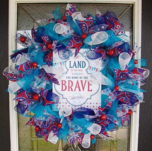Land of the Free Home of the Brave Patriotic Memorial Day Deco Mesh Front Door Wreath, Fun Festive Decor, Porch Patio Pool Party Decoration, Unique Gift Idea for Summer Birthday -