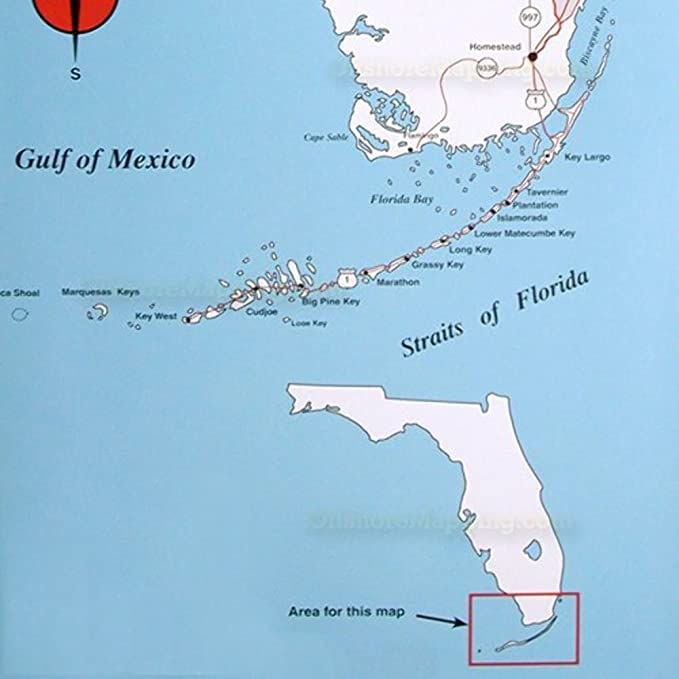 Map Of Florida Bay.Amazon Com Top Spot N210 South Florida Offshore Fishing Map