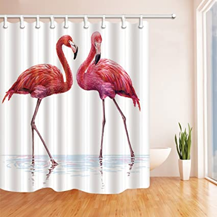 Nyngei Elegant Flamingo Birds In The Water Standing Shower Curtains Polyester Fabric Waterproof Bath Curtain 708