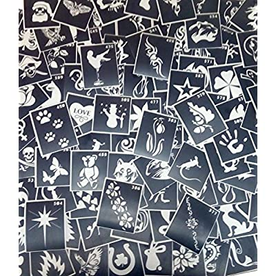 100 Three-layer Adhesive Stencils for Face Painting, Air Brushing or Glitter Tattoos!