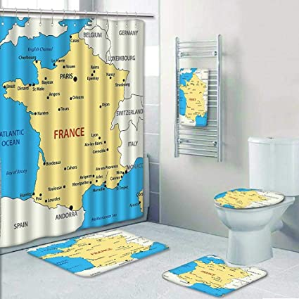 AmaPark 5 Piece Banded Shower Curtain Set RugContour Bath TowelMap Of France