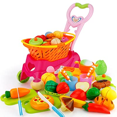 Sotodik 31PCS Cutting Toys Shopping Cart Toys Pretend Food Fruits Vegetable Playset Educational Learning Toy Kitchen Play Food For Boy Girl Kid (Red): Toys & Games