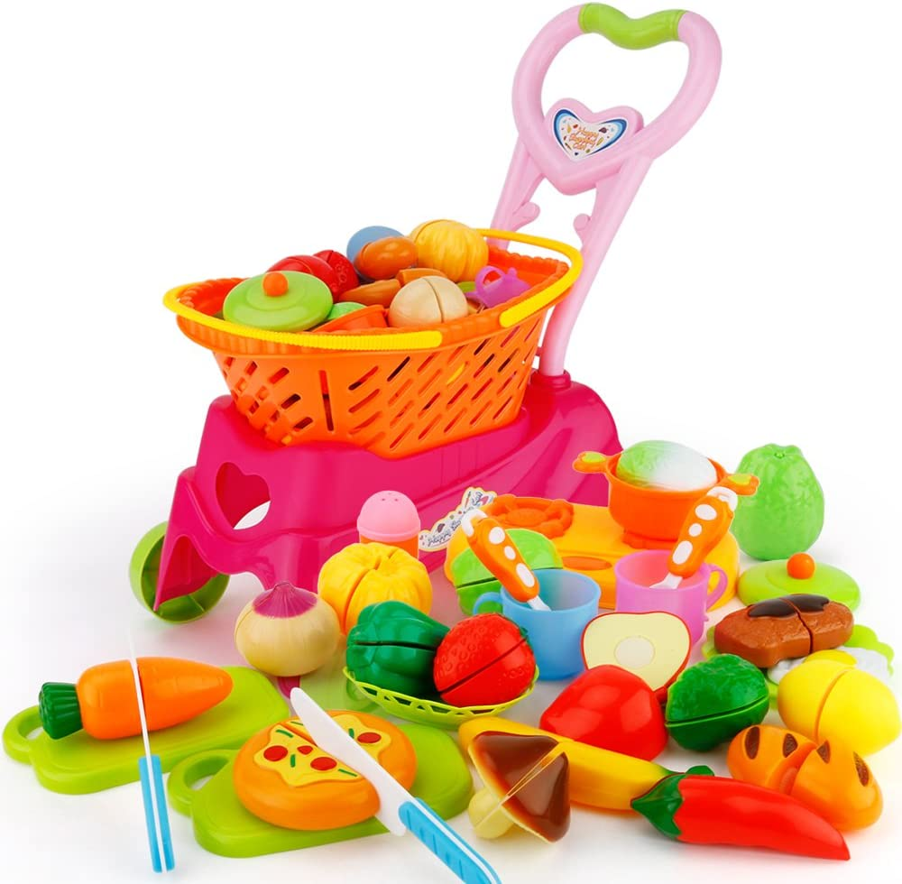 Sotodik 31PCS Cutting Toys Shopping Cart Toys Pretend Food Fruits Vegetable Playset Educational Learning Toy Kitchen Play Food For Boy Girl Kid (Red)