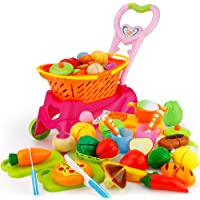 Sotodik 31PCS Cutting Toys Shopping Cart Toys Pretend Food Fruits Vegetable Playset Educational Learning Toy Kitchen…