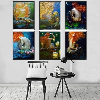 NNDHYS Sirena Diferentes Poses Lienzo Arte Cartel impresi/ón Pared Imagen Sala decoraci/ón del hogar sin marco-30X40cm/_1