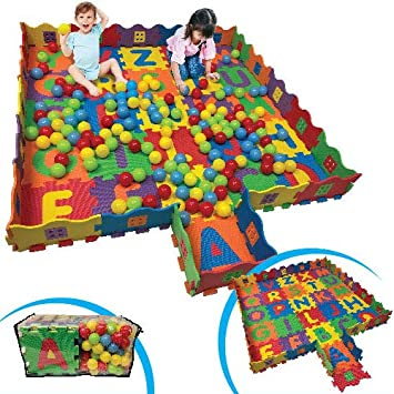 FUN n SAFE Kids Shapes//Animals Play Mat and Ball Pit with 16 Interlocking Foam Tiles and 100 Balls