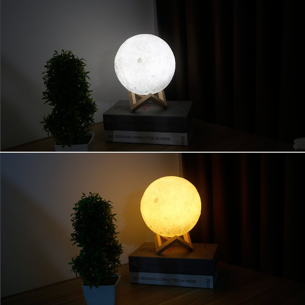 Ocamo Desk Lamp Simulation 3D Moon Night Light Earth Light, 3 LEDs USB Rechargeable Moonlight with Wood Base 10cm by Ocamo (Image #3)