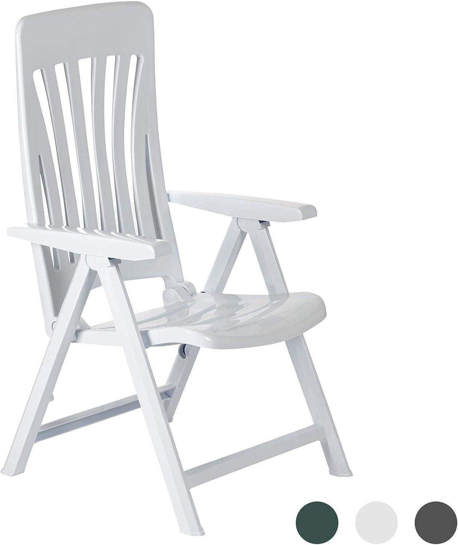 Resol Blanes plegable de múltiples posiciones jardín Sillón - Plástico Blanco