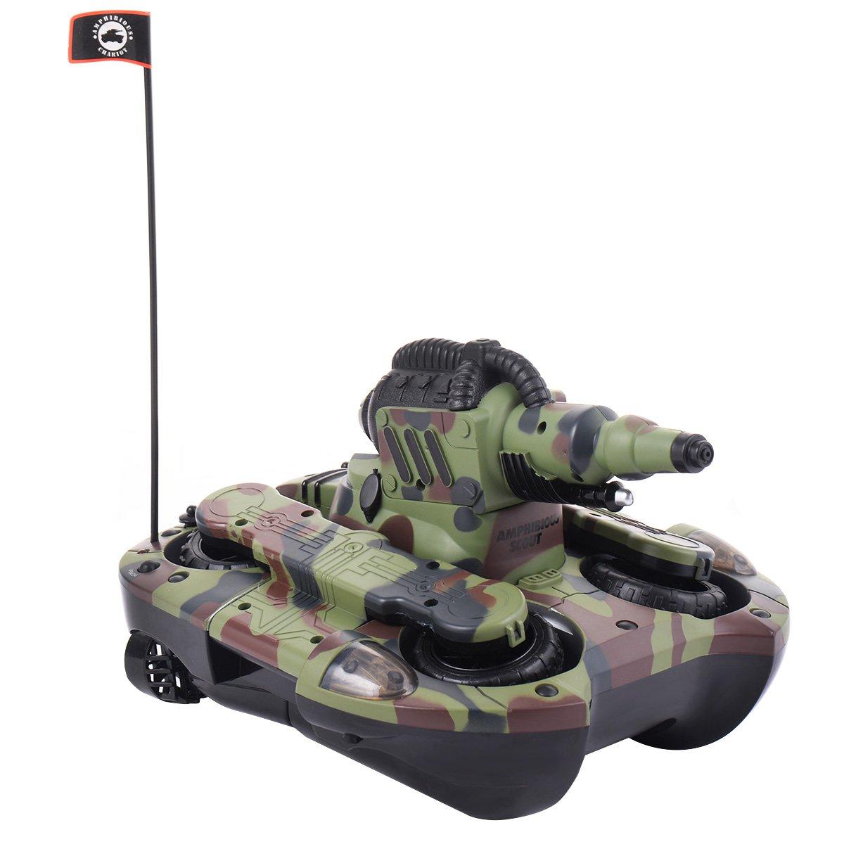 FDS 2,4G RC Ferngesteuerter Panzer Amphibienauto Amphibienfahrzeug Spielzeug mit Schuss-Funktion(Wasser)