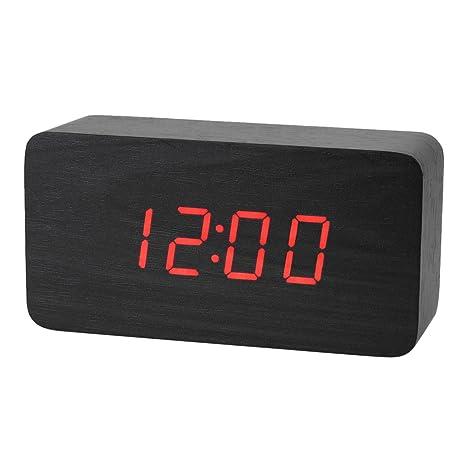 Reloj digital de escritorio con control de sonido, funciona con pilas o fuente de alimentación