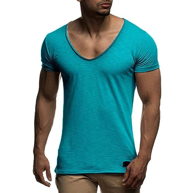 Moda Camisa para Hombre - Manga Corta Cuello en V T-Shirts Color Sólido  Básica 77aabba1435