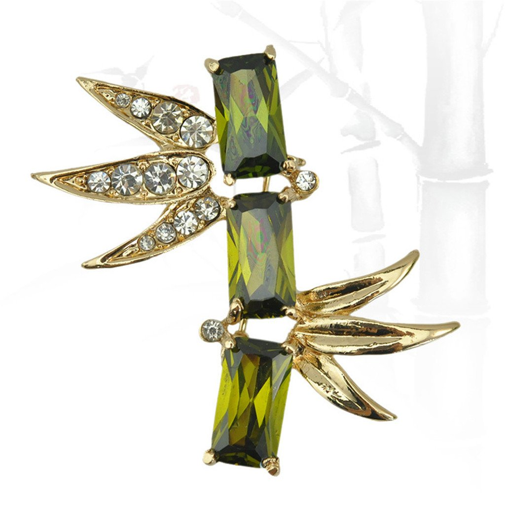JewelleryClub Men Chinese Bamboo Brooch Green Swarovski Elements Crystal Cubic Zirconia Scarf Ring Brooch Pin for Suit JewelleryClub Gifts J179
