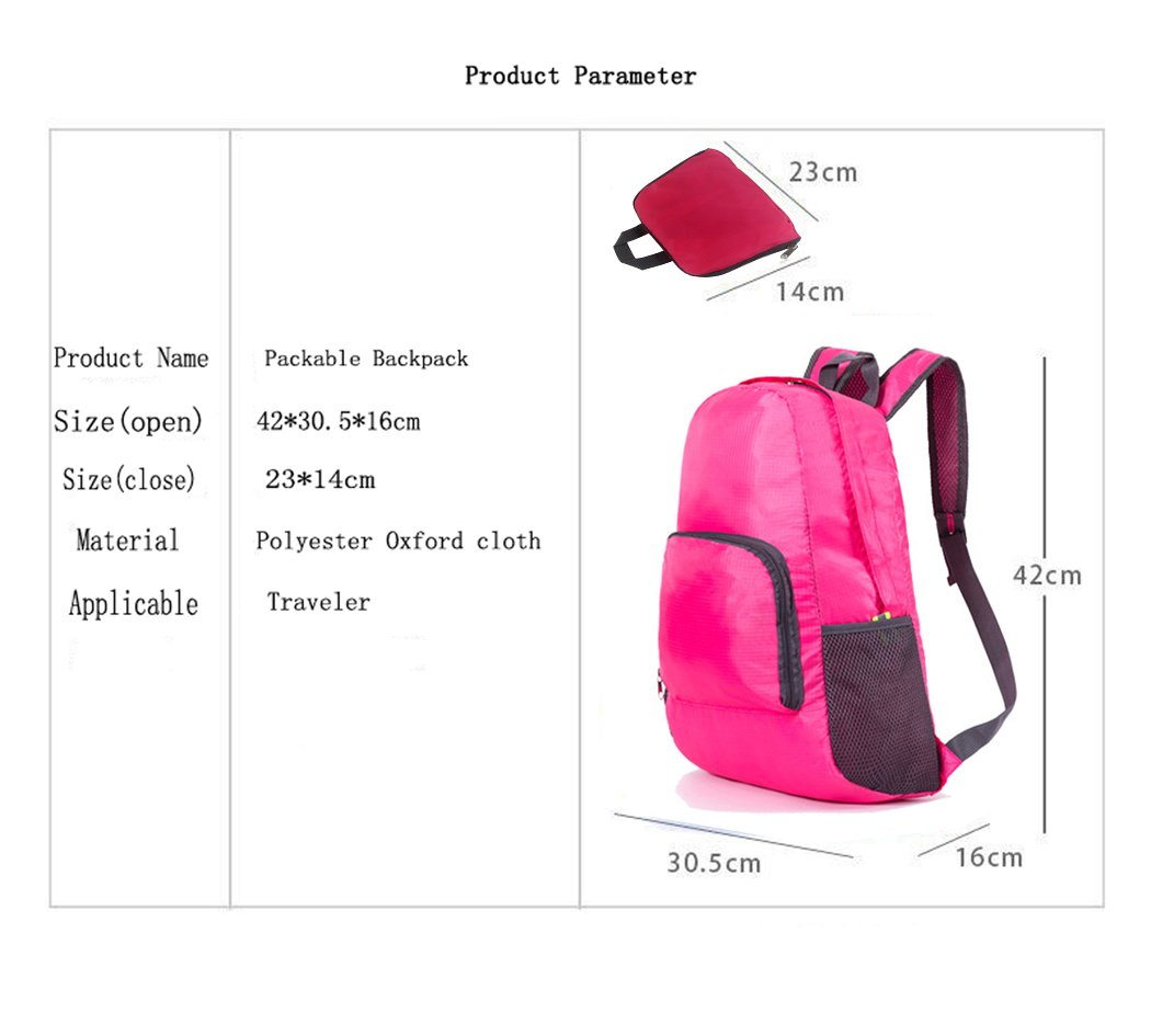 Hillento Ultra Lightweight Packable Backpack Water Resistant Travel Hiking Backpack Daypack,Small Backpack Handy Foldable Camping Outdoor Backpack Little Bag