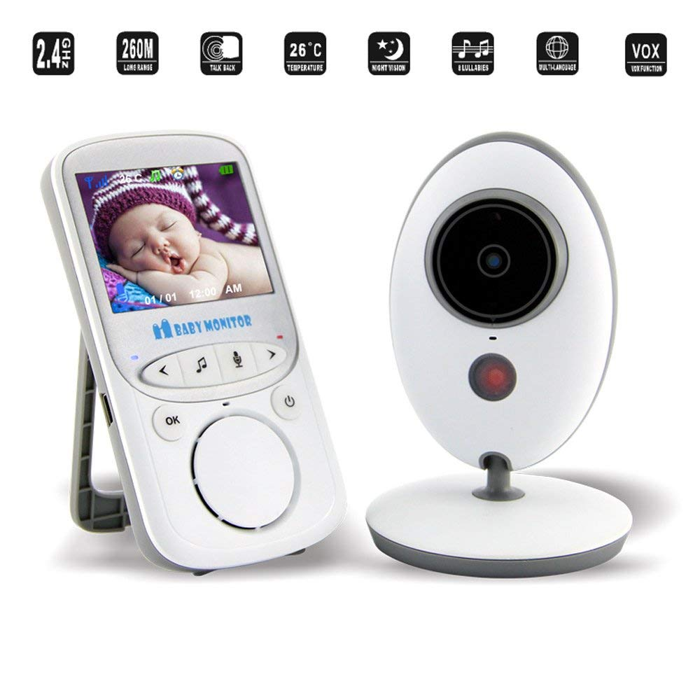 Adventurers 2018 Infant Wireless Digital Monitor Video Baby Monitor with Remote Pan/Tilt/Zoom, Wide-Angle Lens,VOX Function,Temperature Monitoring, 2 Way Talk and Audio&Night Vision by Adventurers