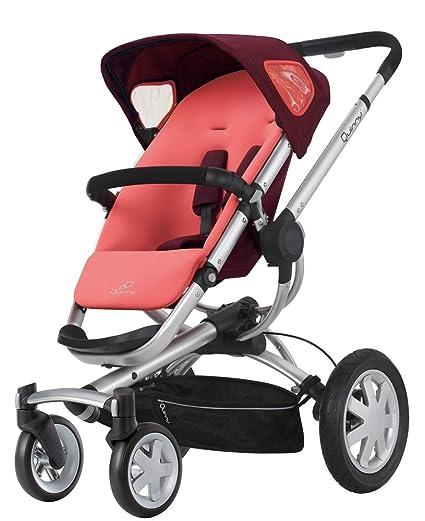 Quinny 60404930 Buzz 4 - Silla de paseo con cesta, capota, protector para la lluvia y adaptador para capazo (4 ruedas), color rosa y granate