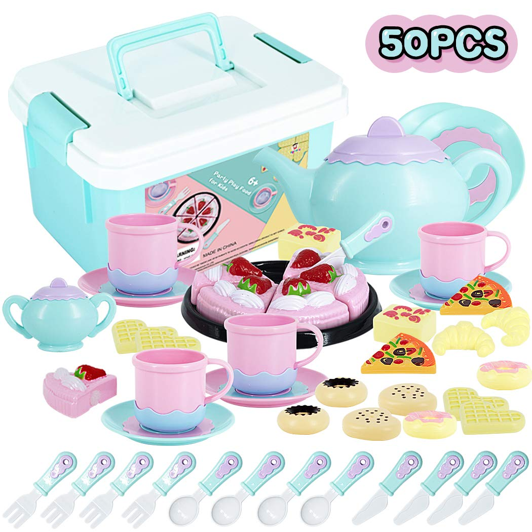 Tea Time Toys 50 Pieces Party Play Food for Kids, DIY Cutting Birthday Party Cake Toys Set Dessert,Cookies,Doughnut,Kitchen Toy for Toddlers, Boys & Girls by CuteDirect