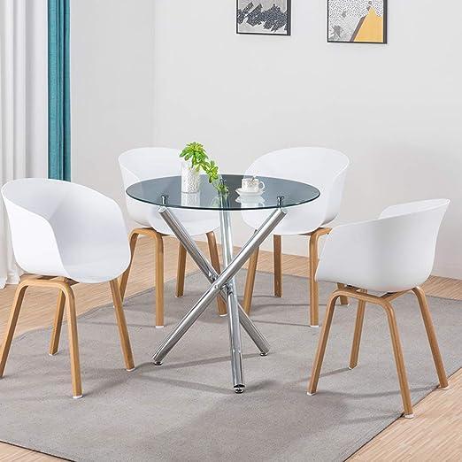 LUXES Mesa de Comedor Redonda de Cristal y 4 sillas para Comedor ...