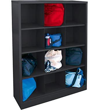 black storage cabinet. Sandusky Lee IC00461866-09 Heavy Duty Welded All Steel Cubby Storage Cabinet With 12 Sections Black P