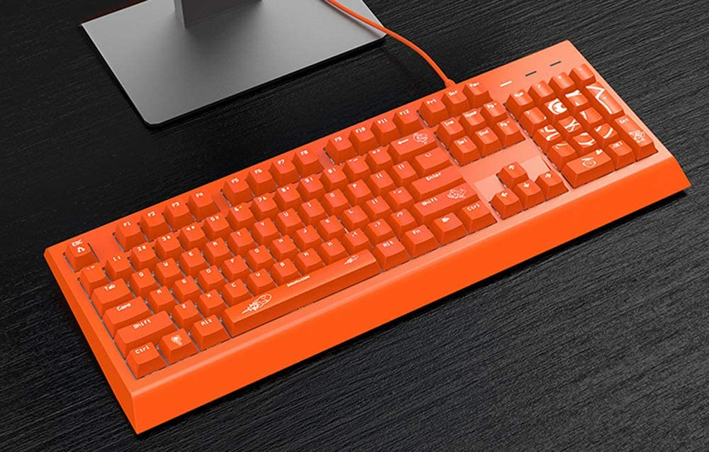 Basaltech Mechanical Gaming Keyboard with White LED Backlit 104 Keys Anti-Ghosting Blue Switch Wird USB Orange