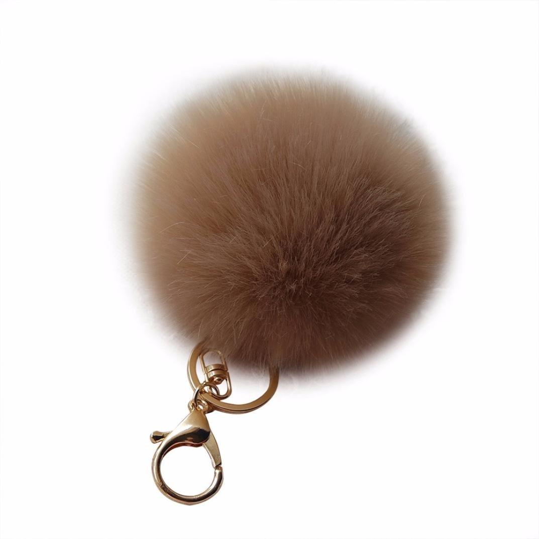 Amiley Fluffy Faux Rabbit Fur Ball Charm Pom Pom Car Keychain Handbag Wallet Backpack Key Ring (Coffee)