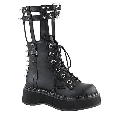 6f1d6c149a4 Demonia 2 Inch Platform Ankle Boot with Calf High Leg Brace, Inner Metal  Zipper