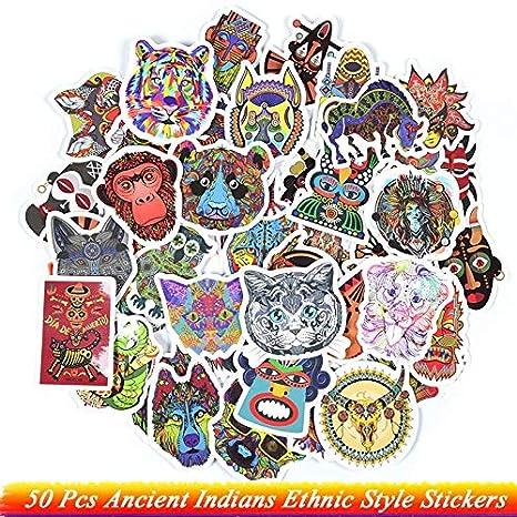 Inveroo 50 Unids Antiguos Indios Estilo Étnico Pegatinas Animales ...