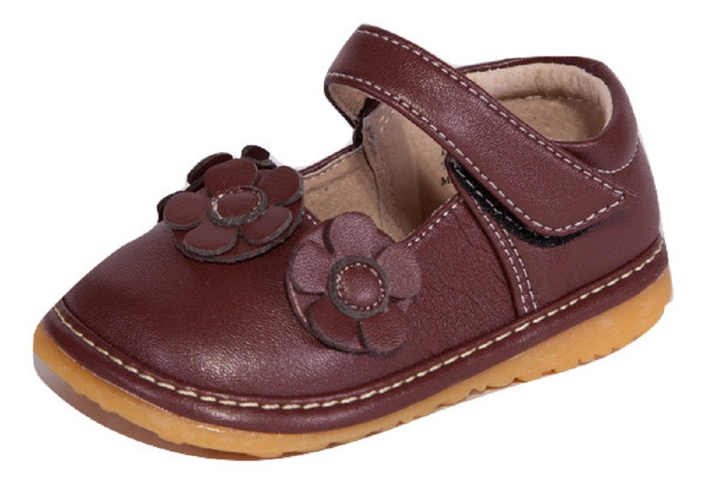 Little Mae's Boutique Squeaky Shoes | Brown Three Flower Mary Jane Toddler Girl Shoes (4)