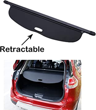 Trunk Cover Cargo Retractable Rear Security Black For Nissan Rogue X-trail 2014+
