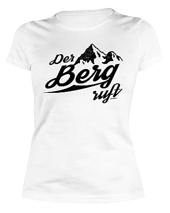 1a4cf60572bab9 Damen-Shirt Kletter Wander Bergsteiger Girlie-Shirt  Der Berg ruft für  Gipfelstürmer  Amazon.de  Bekleidung