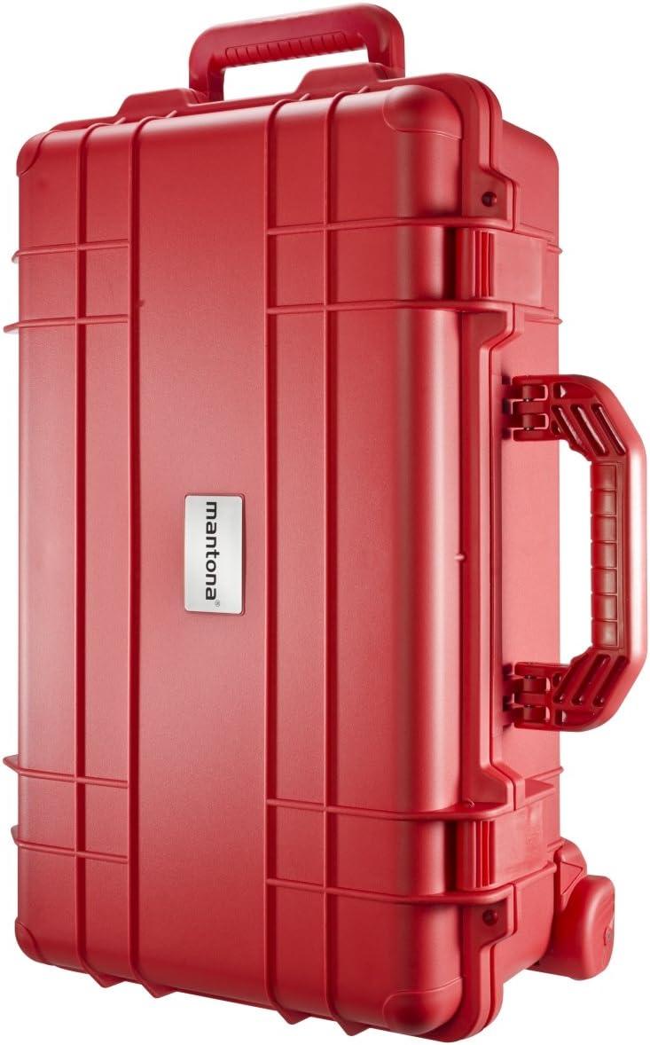 Mantona - Maletín para cámaras de fotos apto para exteriores (resistente al agua, el polvo y las rozaduras), color rojo