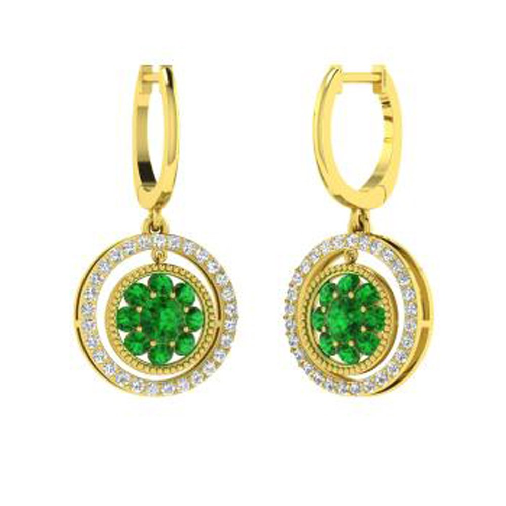 Ringjewels 1.68 Ct Round Cut Emerald /& Simulated White Diamond Drop Earrings In 14K Gold Plated Sterling