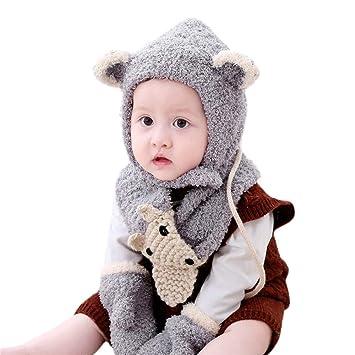 1632a1ba033 Inkach Baby Girls Boys Winter Hat Scarf Gloves Set Kids Earflap Hood  Scarves Crochet Knit Skull Caps ...