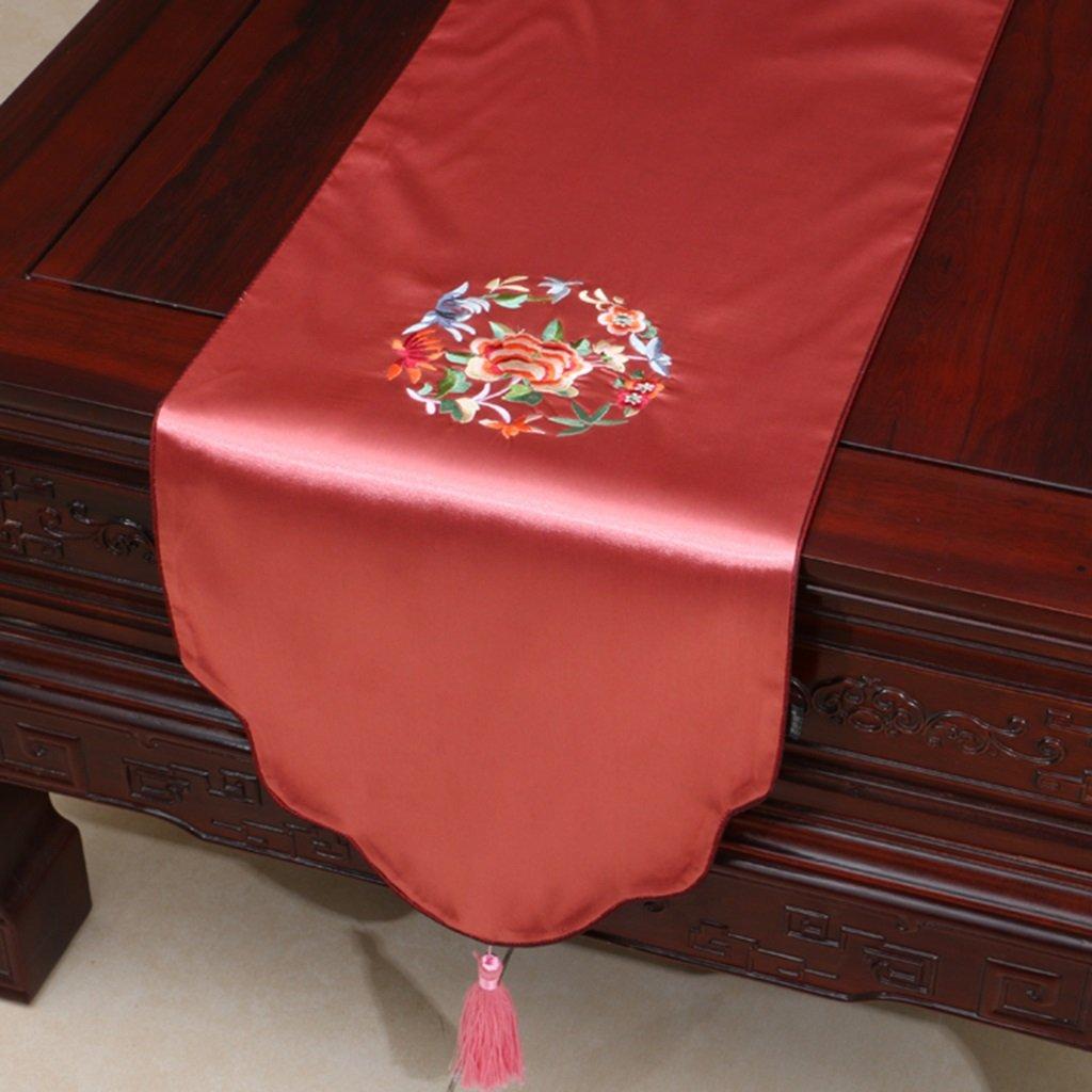 Unbekannt ERRU-Tischläufer Tischläufer Tischdecke Stickerei pastoralen Tee Tischdecke Lange Tischdecke Tischdecken (Farbe : Rubber Red, größe : 33 * 230cm)