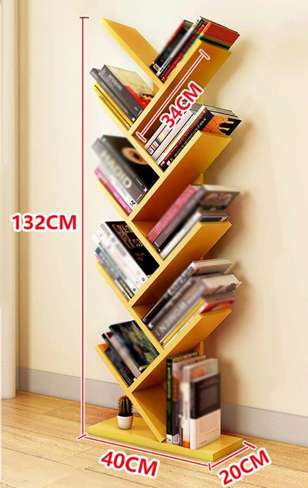 REGAL ZCJB Bücherregal-Speicher-Bücherregal-Schrank Baute Bücherregal-Organisator-großes Boden-Bücherregal Für Wohnzimmer Zusammen (Farbe : Gelb)