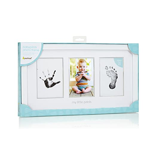 Adorable baby handprint and footprint photo frame is a fabulous first time grandma gift!