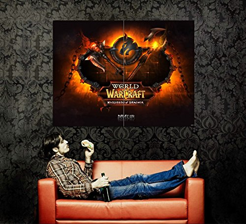 WoW World of Warcraft Warlords of Draenor Fire Logo Game Fan Art 47x35 Huge Giant Poster Print (World Of Warcraft Warlords Of Draenor Cheap)