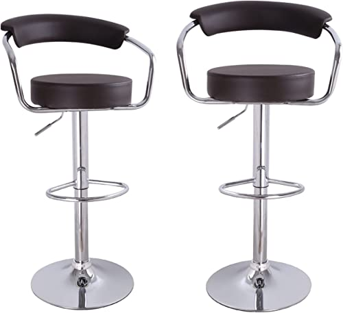 Adeco Brown Leatherette Cushioned Adjustable Barstool Chair