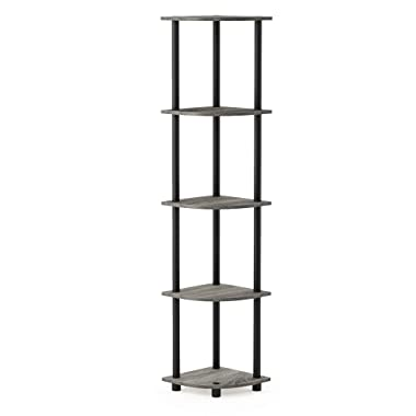 Furinno 99811GYW/BK Turn-N-Tube Corner Display Rack Multipurpose Shelving Unit, 5-Tier, French Oak Grey/Black