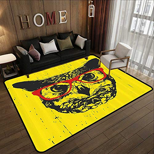 Kids Rugs for playroom,Modern,Owl with Glasses Portrait Hipster Nocturnal Animal Grunge Humor Graphic,Dark Grey Yellow Red 47