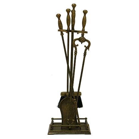 tr781 la ferrotecnica Trespolo latón antiguo set accesorios chimenea y estufa Made in Italy