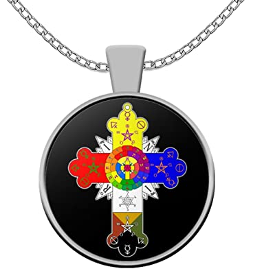 Amazon esoteric necklace rosicrucian lamen rose cross esoteric necklace rosicrucian lamen rose cross symbol black pendant necklace occult gift accessories mozeypictures Image collections
