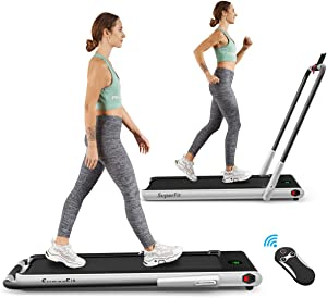 Goplus 2 in 1 Folding Treadmill, 2.25HP Under Desk Electric Treadmill, Installation-Free, with Remote Control, Bluetooth Speaker and LED Display, Walking Jogging Machine for Home/Office Use
