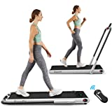 Goplus 2 in 1 Folding Treadmill, 2.25HP Under Desk Electric Treadmill, Installation-Free, with Remote Control, Bluetooth Spea