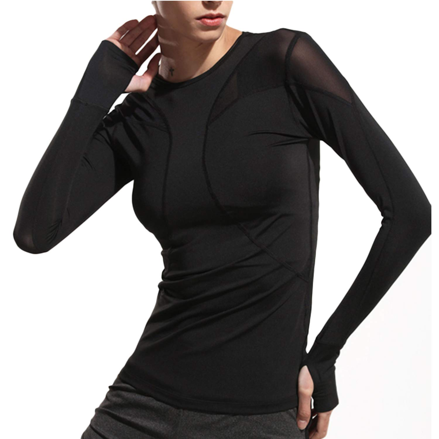 UDIY Athletic Wear for Women Shirts - Breahtable Mesh Long Sleeve Tee Running Shirt by UDIY